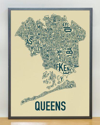 "Framed Queens Neighborhood Map, Tan & Navy Screenprint, 18"" x 24"" in Steel Grey Frame"