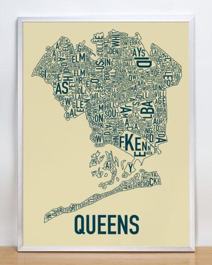 "Framed Queens Neighborhood Map, Tan & Navy Screenprint, 18"" x 24"" in Silver Frame"