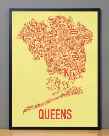 "Framed Queens Neighborhood Map, Yellow & Coral Screenprint, 18"" x 24"" in Black Frame"