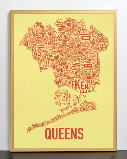 "Framed Queens Neighborhood Map, Yellow & Coral Screenprint, 18"" x 24"" in Bronze Frame"