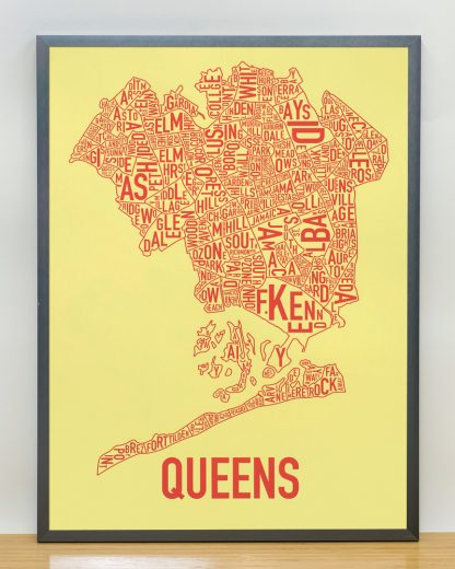 "Framed Queens Neighborhood Map, Yellow & Coral Screenprint, 18"" x 24"" in Steel Grey Frame"