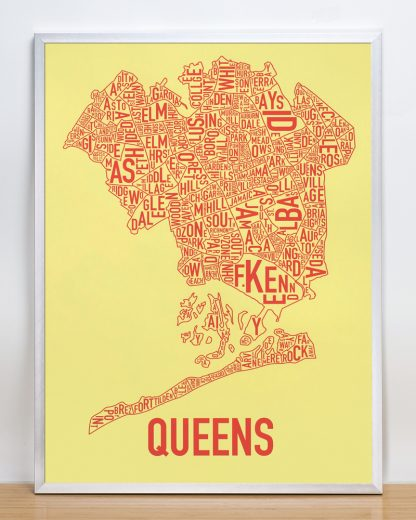 "Framed Queens Neighborhood Map, Yellow & Coral Screenprint, 18"" x 24"" in Silver Frame"