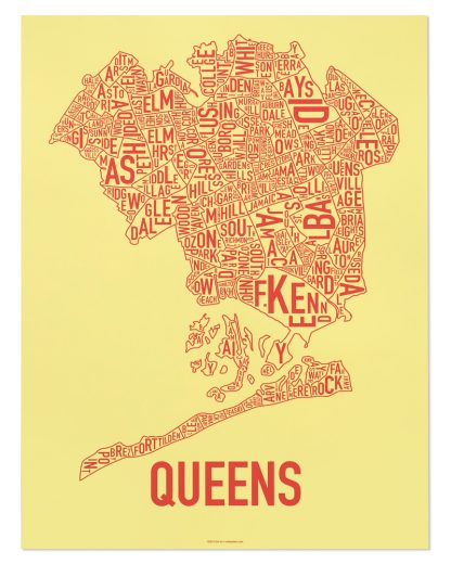 "Queens Neighborhood Map, Yellow & Coral Screenprint, 18"" x 24"""