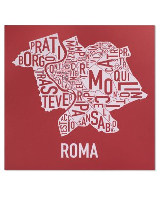 "Rome Neighborhood Map, Red & White Screenprint, 18"" x 18"""