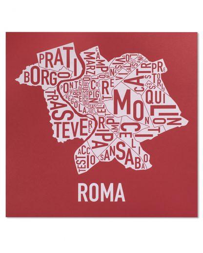 "Rome Neighborhood Map, Red & White Screenprint, 18"" x 18"""