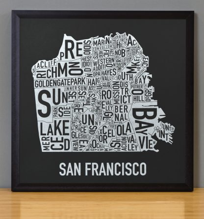 "Framed San Francisco Neighborhood Map, Black & White Screenprint, 12.5"" x 12.5"" in Black Frame"