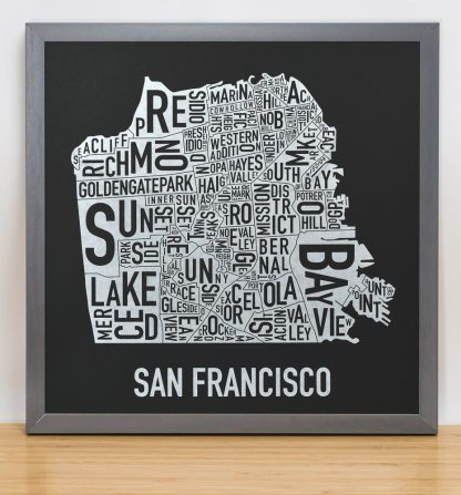 "Framed San Francisco Neighborhood Map, Black & White Screenprint, 12.5"" x 12.5"" in Steel Grey Frame"