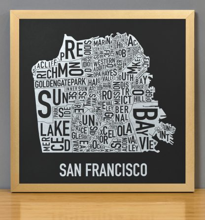 "Framed San Francisco Neighborhood Map, Black & White Screenprint, 12.5"" x 12.5"" in Bronze Frame"