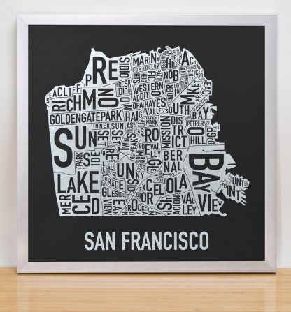 "Framed San Francisco Neighborhood Map, Black & White Screenprint, 12.5"" x 12.5"" in Silver Frame"