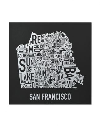 "San Francisco Neighborhood Map, Black & White Screenprint, 12.5"" x 12.5"""