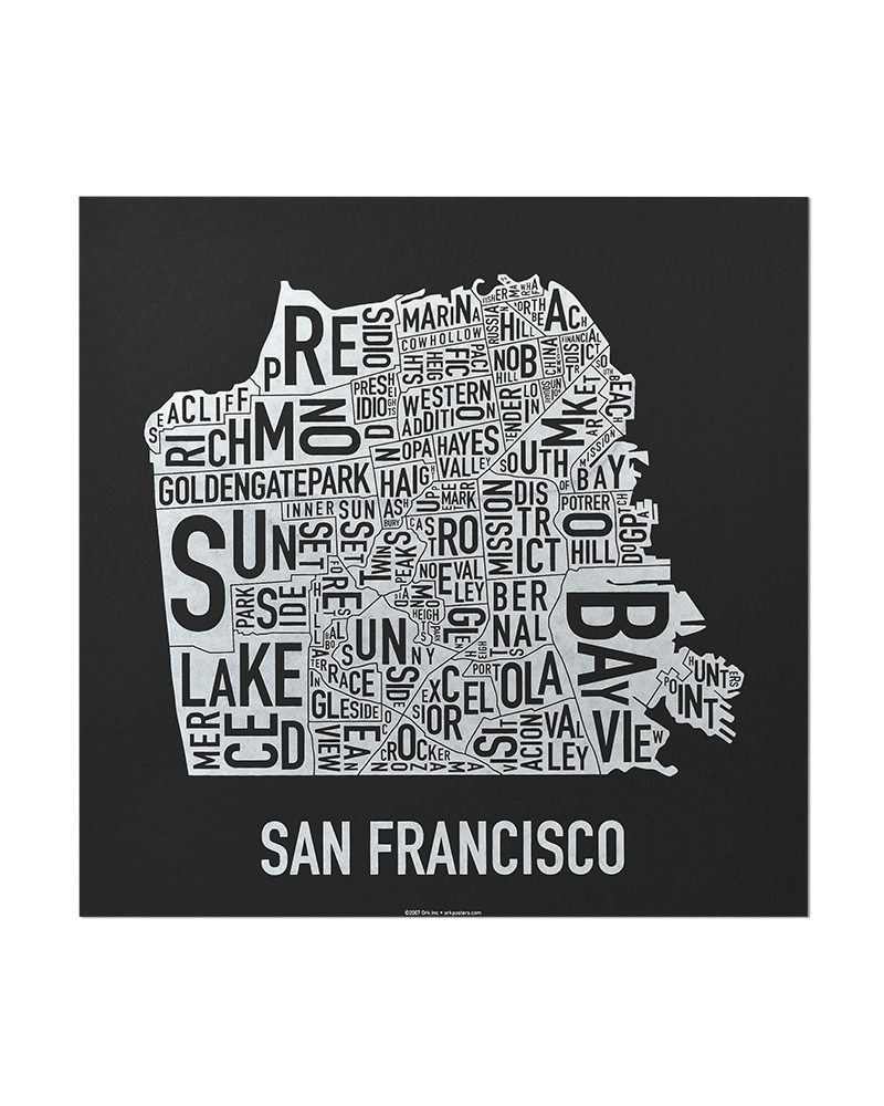 San francisco neighborhood map indie made in the usa