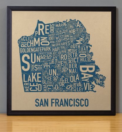 "Framed San Francisco Neighborhood Map, Gold & Blue Screenprint, 12.5"" x 12.5"" in Black Frame"