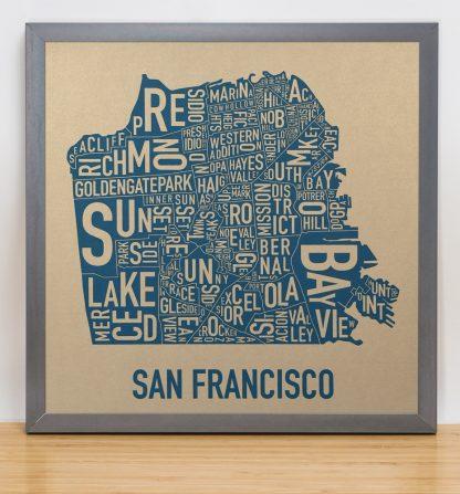 "Framed San Francisco Neighborhood Map, Gold & Blue Screenprint, 12.5"" x 12.5"" in Steel Grey Frame"