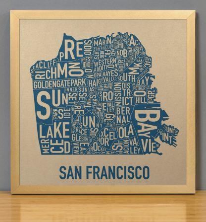 "Framed San Francisco Neighborhood Map, Gold & Blue Screenprint, 12.5"" x 12.5"" in Bronze Frame"