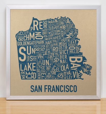 "Framed San Francisco Neighborhood Map, Gold & Blue Screenprint, 12.5"" x 12.5"" in Silver Frame"