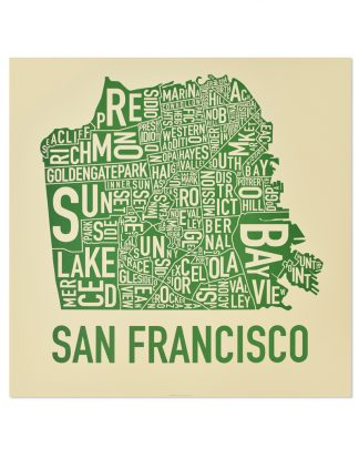 "San Francisco Neighborhood Map Poster, Tan & Green, 18"" x 18"""