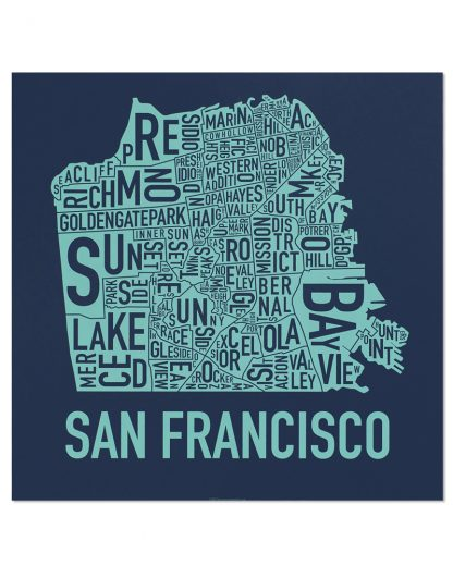 "San Francisco Neighborhood Map Poster, Navy & Seafoam, 18"" x 18"""