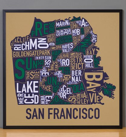 "Framed San Francisco Neighborhood Map Screenprint, Tan & Multi, 22"" x 22"" in Black Frame"