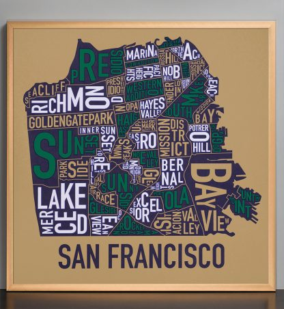 "Framed San Francisco Neighborhood Map Screenprint, Tan & Multi, 22"" x 22"" in Bronze Frame"