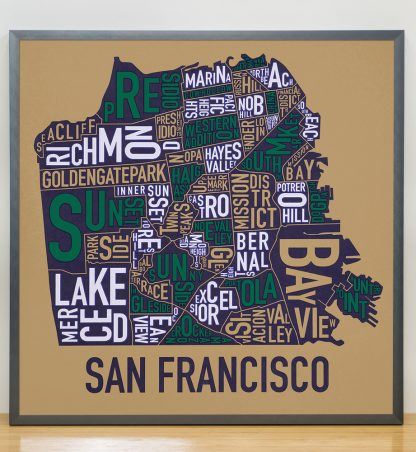 "Framed San Francisco Neighborhood Map Screenprint, Tan & Multi, 22"" x 22"" in Steel Grey Frame"
