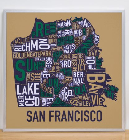 "Framed San Francisco Neighborhood Map Screenprint, Tan & Multi, 22"" x 22"" in Silver Frame"