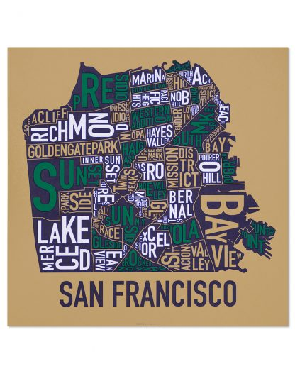 "San Francisco Neighborhood Map Screenprint, Tan & Multi, 22"" x 22"""