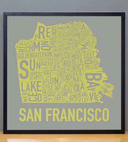 "Framed San Francisco Neighborhood Map Screenprint, Grey & Yellow, 18"" x 18"" in Black Frame"