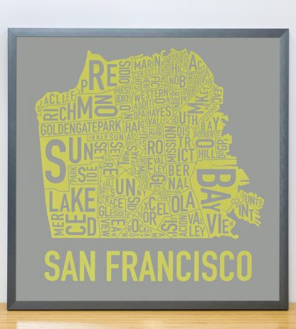 "Framed San Francisco Neighborhood Map Screenprint, Grey & Yellow, 18"" x 18"" in Steel Grey Frame"