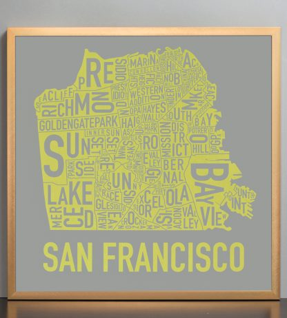 "Framed San Francisco Neighborhood Map Screenprint, Grey & Yellow, 18"" x 18"" in Bronze Frame"