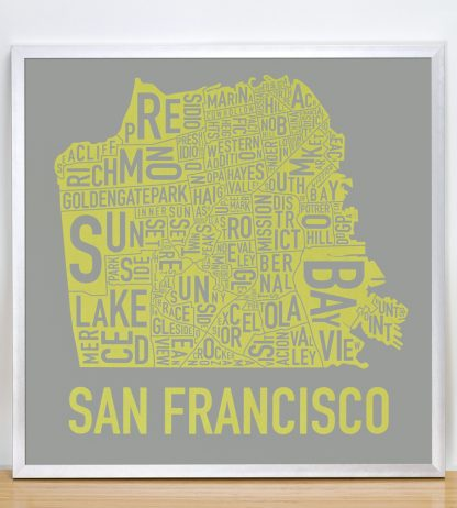 "Framed San Francisco Neighborhood Map Screenprint, Grey & Yellow, 18"" x 18"" in Silver Frame"