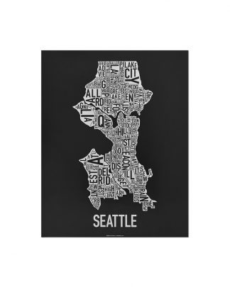 "Seattle Neighborhood Map Screenprint, Black & White, 11"" x 14"""