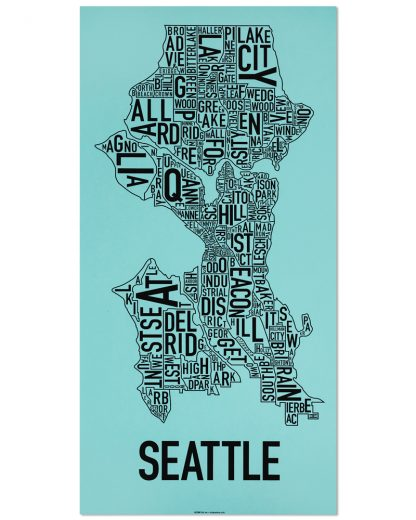 "Seattle Neighborhood Map Screenprint, Turquoise & Black, 13"" x 26"""
