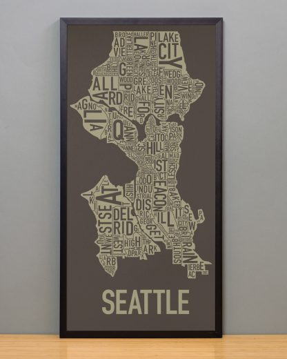 "Framed Seattle Neighborhood Map Screenprint, Brown & Gold, 13"" x 26"" in Black Frame"