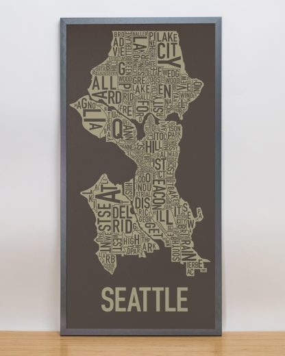 "Framed Seattle Neighborhood Map Screenprint, Brown & Gold, 13"" x 26"" in Steel Grey Frame"