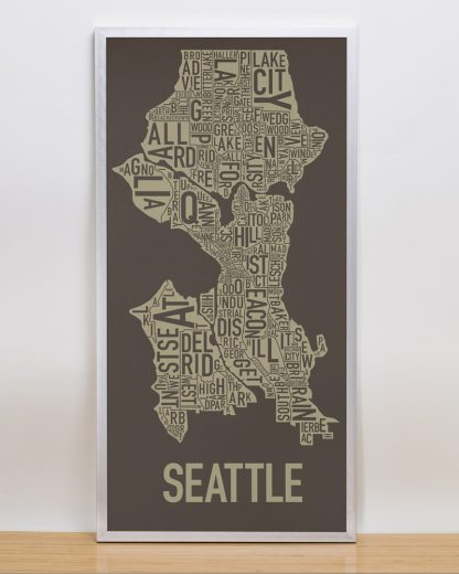 "Framed Seattle Neighborhood Map Screenprint, Brown & Gold, 13"" x 26"" in Silver Frame"