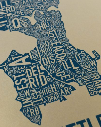 "Seattle Neighborhood Map, Gold & Blue Screenprint, 11"" x 14"""