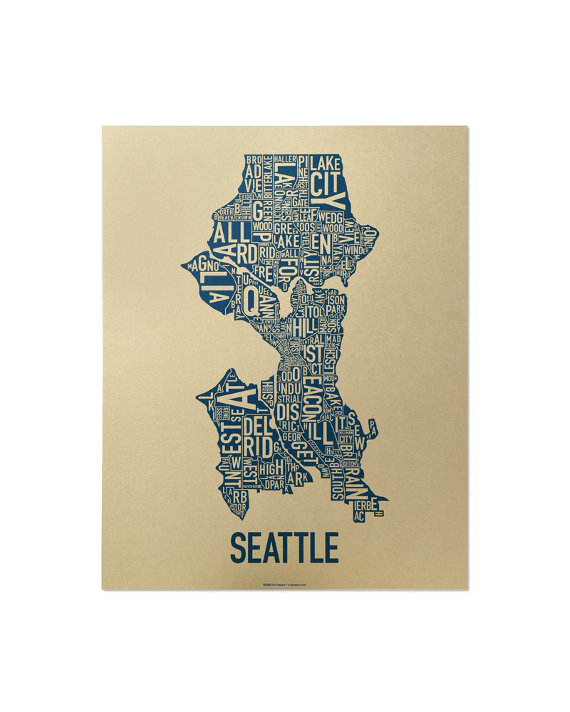 Seattle Neighborhood Type Map Posters & Prints - Made in the USA on