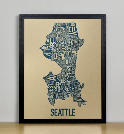 "Framed Seattle Neighborhood Map, Gold & Blue Screenprint, 11"" x 14"" in Black Frame"