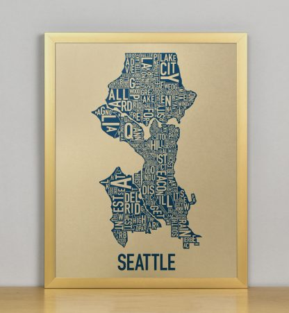 "Framed Seattle Neighborhood Map, Gold & Blue Screenprint, 11"" x 14"" in Bronze Frame"