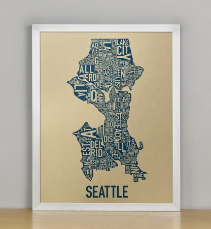 "Framed Seattle Neighborhood Map, Gold & Blue Screenprint, 11"" x 14"" in Silver Frame"