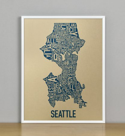 "Framed Seattle Neighborhood Map, Gold & Blue Screenprint, 11"" x 14"" in White Metal Frame"