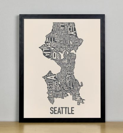 "Framed Seattle Neighborhood Map Screenprint, Ivory & Grey, 11"" x 14"" in Black Metal Frame"