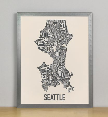 "Framed Seattle Neighborhood Map Screenprint, Ivory & Grey, 11"" x 14"" in Steel Grey Frame"