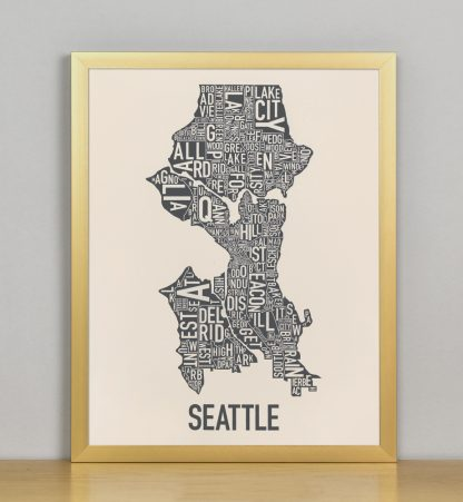 "Framed Seattle Neighborhood Map Screenprint, Ivory & Grey, 11"" x 14"" in Bronze Frame"