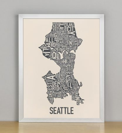 "Framed Seattle Neighborhood Map Screenprint, Ivory & Grey, 11"" x 14"" in Silver Frame"