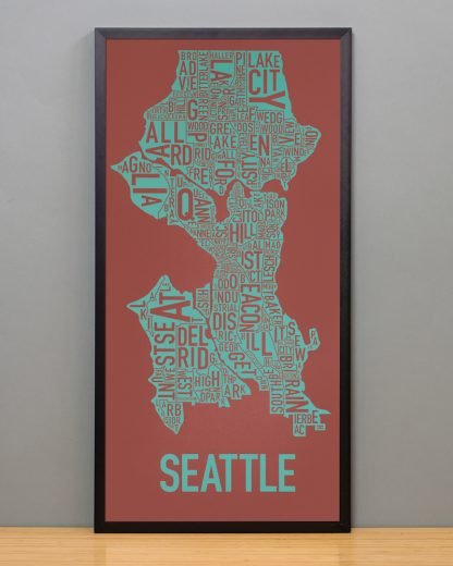 "Framed Seattle Neighborhood Map Screenprint, Rust & Teal, 13"" x 26"" in Black Frame"