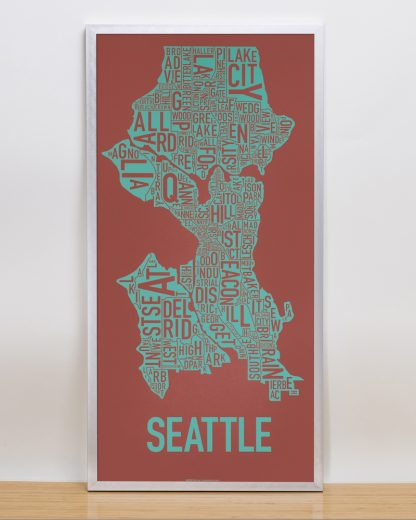 "Framed Seattle Neighborhood Map Screenprint, Rust & Teal, 13"" x 26"" in Silver Frame"