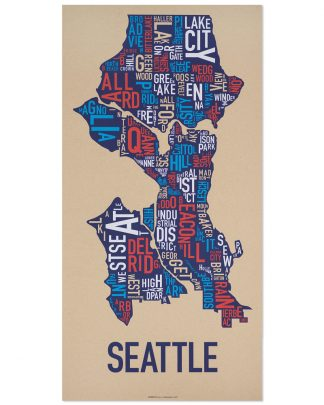 "Seattle Neighborhood Map Screenprint, Tan Multi, 13"" x 26"""