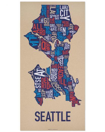 """Seattle Neighborhood Map Screenprint, Tan Multi, 13"""" x 26"""""""