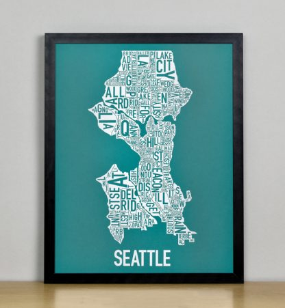 "Framed Seattle Typographic Neighborhood Map Screenprint, Teal & White, 11"" x 14"" in Black Frame"